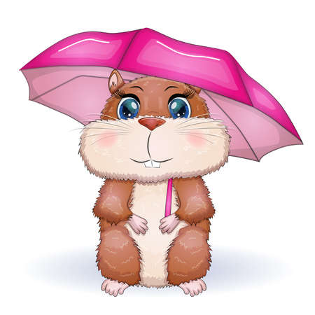 Cute hamster with umbrella, autumn is coming, hamsters cartoon characters, funny animal character Ilustração Vetorial