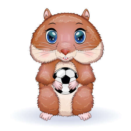 Cute hamster with soccer ball game, hamster cartoon characters, funny animal character. Vecteurs