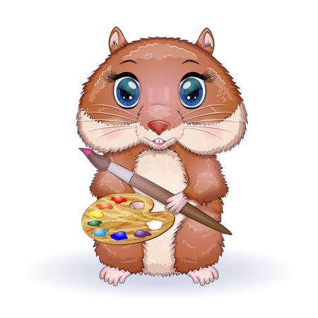 Cute hamster with paints and brush, concept artist, hamster cartoon characters, funny animal character.
