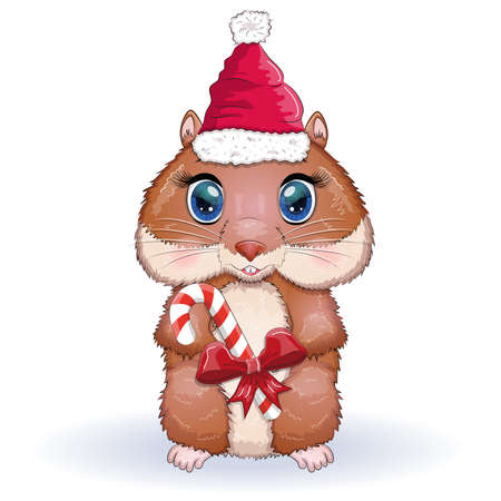 Cute hamster in santa claus hat with candy cane, christmas isolated Ilustração