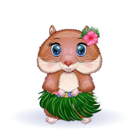 Cute hamster dancer hula, hawaii, summer concept, hamster cartoon characters, funny animal character.