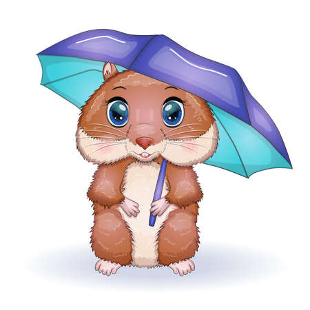 Cute hamster with umbrella, autumn is coming, hamsters cartoon characters, funny animal character