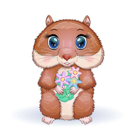 Cute cartoon hamster characters, funny animal with flowers