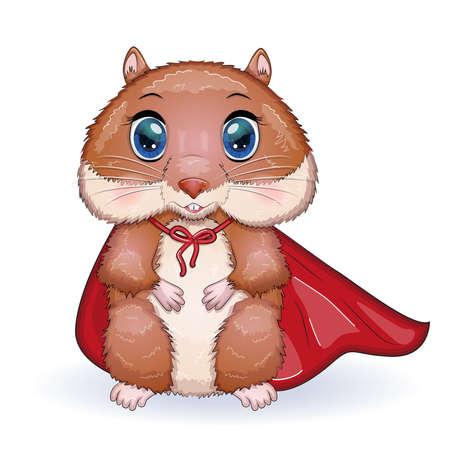 Superhero hamster. Cute hamster superhero, hamster cartoon characters, funny animal character Ilustração