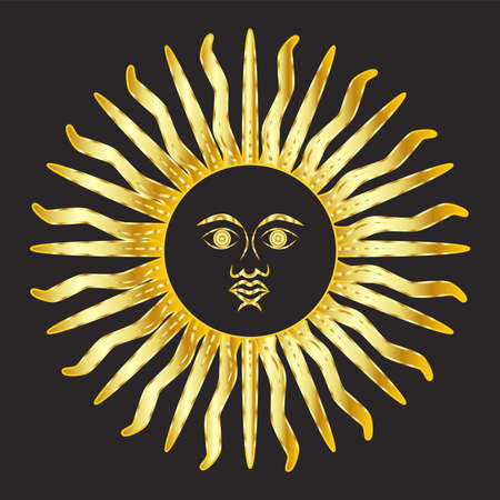 Mystical golden boho tattoos with sun. Linear design, elements for astrology, mysticism and fortune telling.
