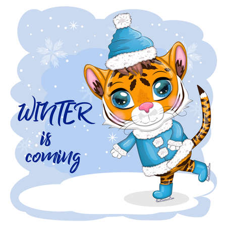 Cartoon tiger in a fur coat and boots on a winter background, skating, Winter is coming. Children's stylistics, cute. Symbol of 2022 New Year and Christmas