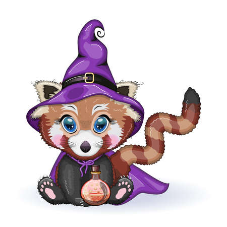 Cartoon red panda wearing purple witch hat with potion. Halloween poster