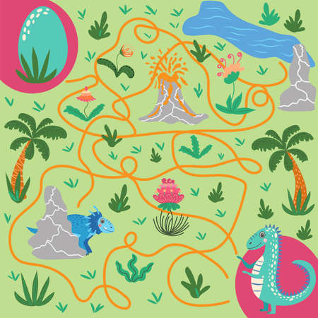 Help dinosaur find path to nest. Labyrinth. Maze game for kids. Help dino moms to find their eggs kid learning game with maze