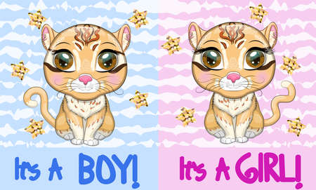 Baby Shower greeting card with Cute boy and girl. Asian golden cat with characteristic spots and colors