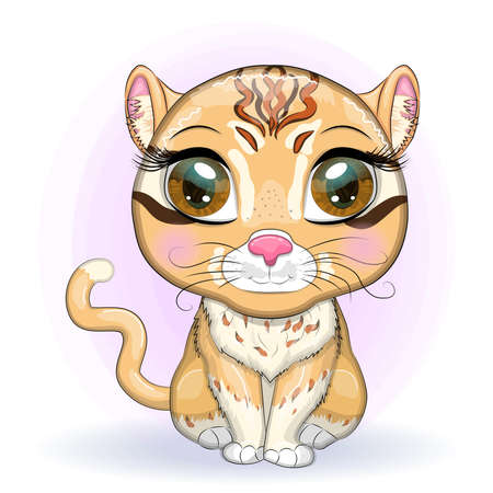 Asian golden cat with beautiful eyes in cartoon style, colorful illustration for children. Asian golden cat with characteristic spots and colors