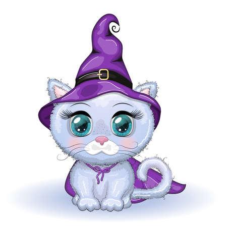 Cartoon cat wearing a purple witch hat and cloak. Halloween poster Ilustração