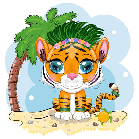 Cartoon tiger hula dancer on the beach with palm tree and sea. Hawaii, Vacation, Sea. Children's style. Symbol of the New Year 2022