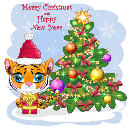 Cartoon tiger in a hat and scarf with a gift near the Christmas tree. Winter time. Children's style, sweetheart. Happy New Year 2022 and Merry Christmas. greeting card Ilustração