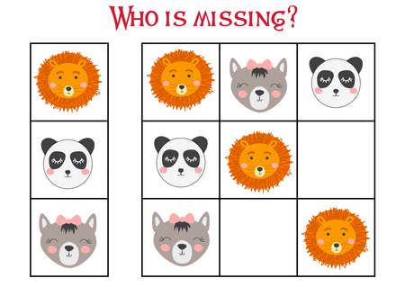 Sudoku game for children with pictures. Kids activity sheet. cute African animals muzzle Ilustração