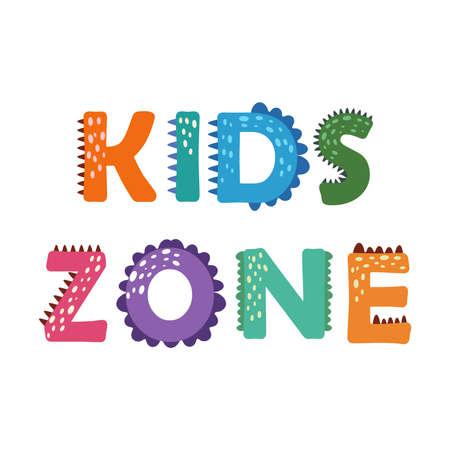 Dino kids. Dinosaur lettering. Bright modern illustration for kids, nursery, poster, card, birthday party, packaging paper design Ilustração