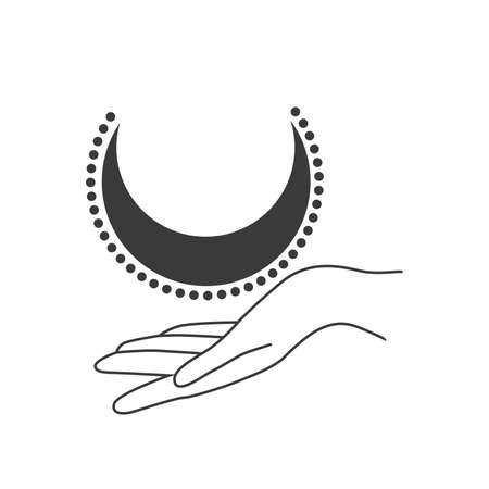 Esoteric symbol. Mystical and magical design with sun, hand, stars and moon.
