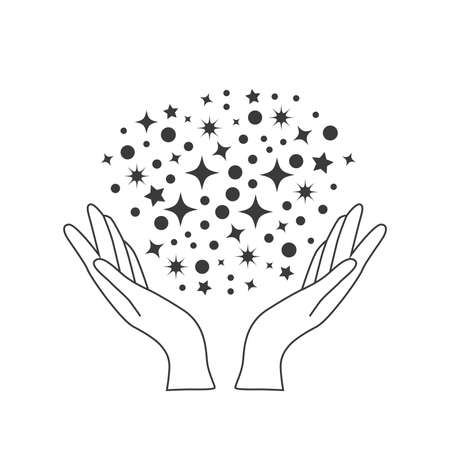 Esoteric symbol. Mystical and magical design of hands holding stars and sky