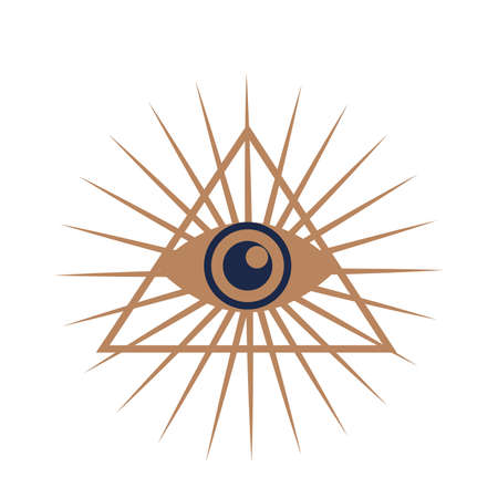 Esoteric symbol. Mystical and magical design with evil eyes