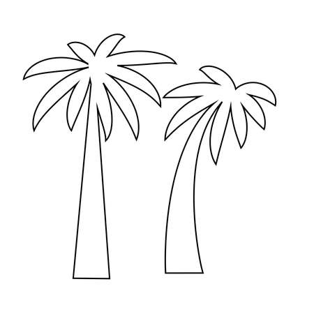 Tropical sea island with plants, palm trees, black silhouettes isolated on white background