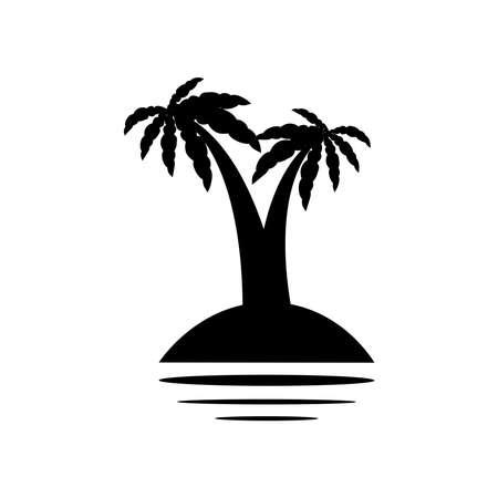 palm tropical tree set icons black silhouette illustration isolated on white background Ilustração