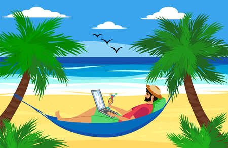 Man lying on a hammock with a laptop with a tropical cocktail. Freelancer and palms, remote work and freelancer concept