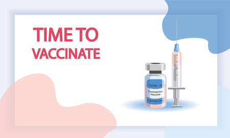 Vaccination concept. Immunization campaign. Vaccination against the vaccine. Health care and security. Syringe and vaccine vial. Medical treatment. Flat illustrations. Vettoriali