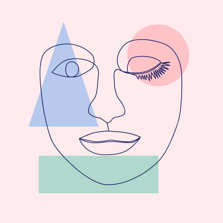 minimalist portrait of female face by one continuous line. Hand drawn abstract feminine print on geometric shapes. for social media, beauty logos, poster illustrations, postcards, t-shirt prints