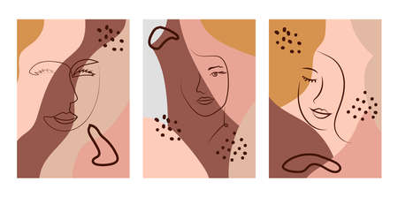 Set of Woman's Face continuous Line art. Abstract Contemporary collage of geometric shapes in a modern trendy style. Portrait of a female For Beauty Concept