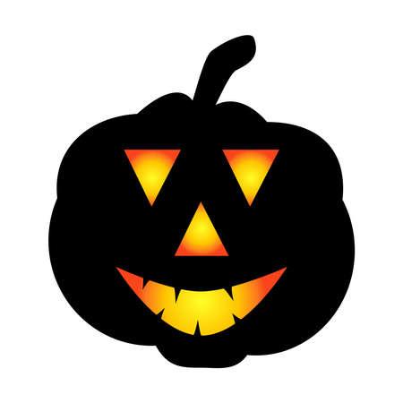 Halloween pumpkin icon. Autumn symbol. Halloween scary pumpkin with a smile, burning eyes. Cartoon colorful illustration.