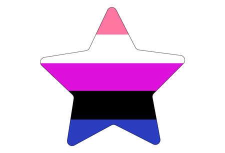 LGBT pride flag, Genderfluid PRIDE. Multicolored peace flag movement. Original colors symbol. Star shaped Vettoriali