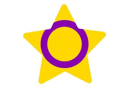 LGBT pride flag, Intersex PRIDE. Multicolored peace flag movement. Original colors symbol. Star shaped