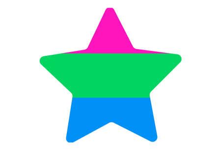 LGBT pride flag, Polisexual PRIDE. Multicolored peace flag movement. Original colors symbol. Star shaped Vettoriali