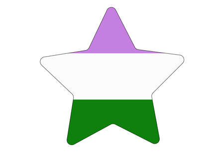 LGBT pride flag, Genderqueer PRIDE. Multicolored peace flag movement. Original colors symbol. Star shaped Vettoriali