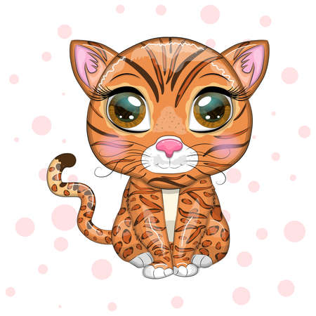 Bengal cat with beautiful eyes in cartoon style, hybrid, colorful illustration for children. Bengal cat with characteristic spots and colors