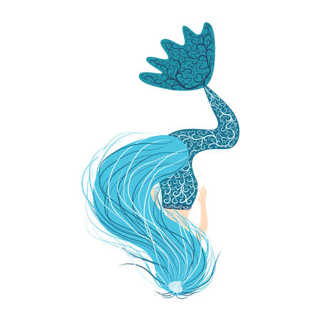 Cartoon beautiful little mermaid in a wreath. Siren. Sea theme. illustration on a white background Vettoriali