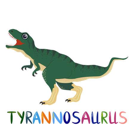 Tyrannosaurus green, prehistoric dinosaurs collection. Ancient animals. Hand drawn. Vettoriali