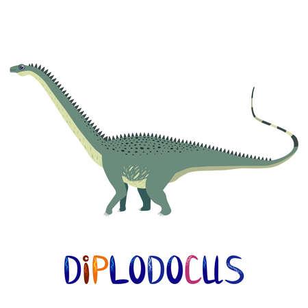 Marsh diplodocus, prehistoric dinosaurs collection. Ancient animals. Hand drawn.