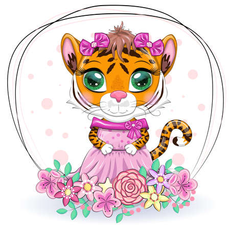 Cute cartoon tiger girl with beautiful eyes in a dress. Chinese New Year 2022, Christmas Year of the Tiger. Lunar new year 2022.