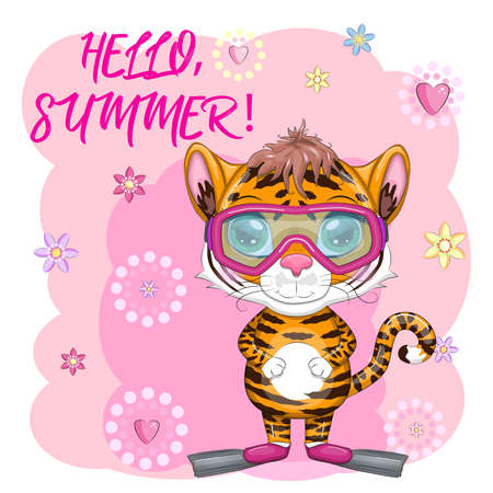 Cartoon tiger wearing goggles and swimming flippers, Summer is coming. Vacation, sea, rest. Children's stylistics, cute. Symbol of 2022 New Year Vettoriali