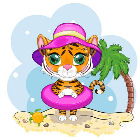 Cartoon tiger with a swimming circle in a summer hat on the beach with a palm tree and a turtle. Vacation, sea, rest. Children's style, sweetheart. Symbol of the New Year 2022