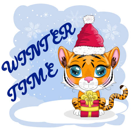 Cartoon tiger in a hat and scarf with a gift. Winter time. Children's style, sweetheart. The symbol of the New Year 2022. Greeting card Vettoriali