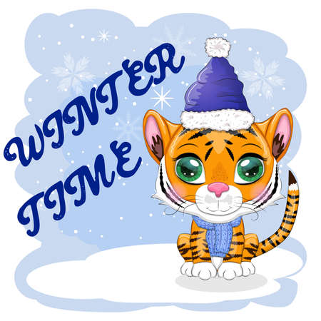 Cartoon tiger in a hat and scarf. Winter time. Children's style, sweetheart. The symbol of the New Year 2022. Greeting card Vettoriali