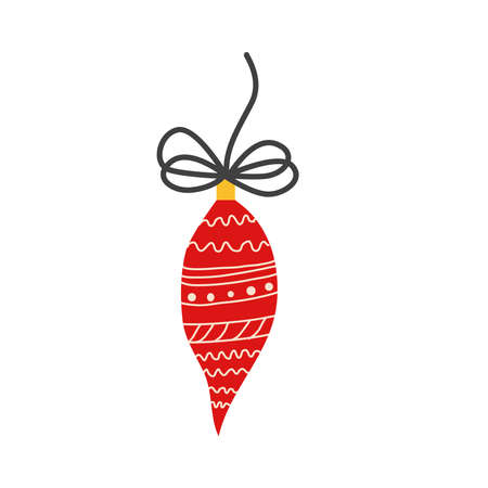 Red Christmas ball, Christmas tree toy with ribbon, bow, pattern isolated on white background. Christmas is coming