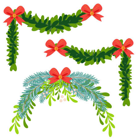 Christmas wreath of holly with red berries. Green leaf. New Year holiday celebration in December