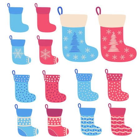 Christmas stockings. Stickers, clipart for xmas. Red, blue socks with snowflakes, Christmas tree. Holiday gifts