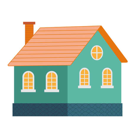 illustration of cool detailed turquoise house icon isolated on white background. Vettoriali