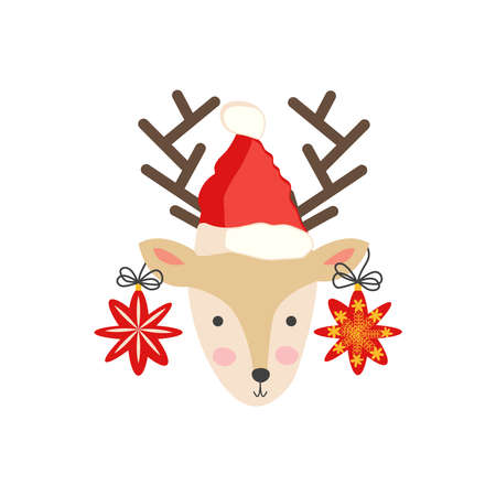 Christmas illustration with cute cartoon deer in doodle style in a santa hat with balloons on the horns