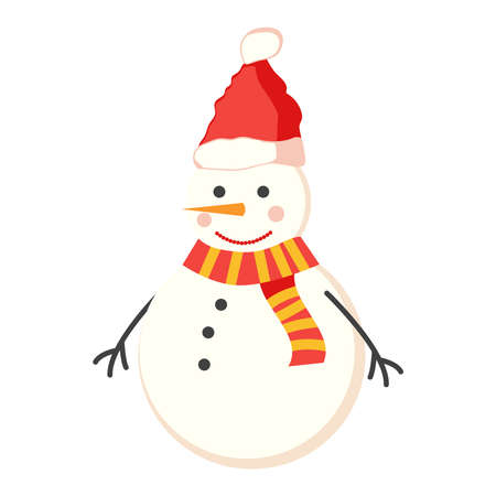 Snowman for christmas and winter, cute character flat design Vettoriali