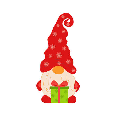Cute Cartoon Gnome isolated on a white background. Christmas Cute Gnomes with Red Caps in Flat Style. Dwarfs Design Template for Merry Christmas and Happy New Year Card. Cartoon Kids Characters Vettoriali
