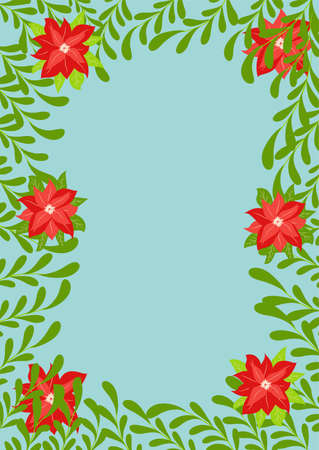 Fabulous winter. illustration of Christmas plants frame. Drawing for a postcard, poster, background.